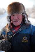 The Pole of Cold - Portrait of a Yakutian horse breeder on the way to work - close to the village of Tomtor. The area is extremely cold during the winter. Two towns by the highway, Tomtor and Oymyakon, both claim the coldest inhabited place on earth (often referred to as -71.2°C, but might be -67.7°C) outside of Antarctica. The average temperature in Oymyakon in January is -42°C (daily maximum) and -50°C (daily minimum). The images had been made during an outside temperature in between -50°C up to -55°C. Tomtor, Jakutien, Yakutia, Russian Federation, Russia, RUS, 19.01.2010