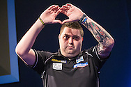 Michael Smith takes to the stage during the World Darts Championship at Alexandra Palace, London, United Kingdom on 1st January 2016. Photo by Shane Healey.