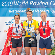 Emma Twigg , New Zealand elite Womens Single Scull with the womens single podium <br /> <br /> Compete in the A Finals at FISA World Rowing Cup III on Sunday 14 July 2019 at the Willem Alexander Baan,  Zevenhuizen, Rotterdam, Netherlands. © Copyright photo Steve McArthur / www.photosport.nz
