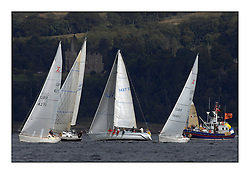 Largs Regatta Week - August 2012..Knock Castle overlooking the Class 3 Fleet start.