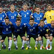 Estonia's team group Back Row (L-R) Andres OPER, Ragnar KLAVAN, Taavi RAHN,  Martin VUNK, Sergei PAREIKO, Front Row (L-R) Taijo TENISTE, Dmitri KRUGLOV, Konstantin VASSILJEV, Enar JAAGER, Tarmo KINK, Joel LINDPERE during their FIFA World Cup 2014 qualifying soccer match Turkey betwen Estonia at Sukru Saracoglu stadium in Istanbul September 11, 2012. Photo by TURKPIX