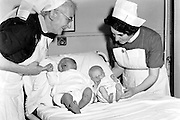 In 1965 Kerry's biggest baby ever baby was born in Nurse Seymours Nursing Home in Killarney weighing a whopping 15 and a half lbs and he turned out to be a grewat savious for the county. Charlie Nelligan, argubably Kerry's greatest goalkeeper made the history books long before he went on to win 7 All-Ireland medals and is pictured above beside another baby born on the same day with Nurse O'Connor.<br /> The image is part of a collection of photographs from The MacMonagle Family who are celebrating 100 years in photography this weekend. An exhibition will be opened in killarney Library on Saturday evening by Minister Jimmy Deenihan, who played alongisde Charlie for many years. The exhibition will run for the month of July.<br /> Picture by Donal MacMonagle