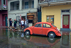 29 August, 2005. New Orleans, Louisiana.<br /> Hurricane Katrina hits New Orleans. Flooding reaches the French Quarter as the storm passes over the city.<br /> Photo; Charlie Varley.