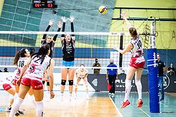 Eva Zatkovic of Calcit Volley vs Taja Gradisnik Klanjscek of Nova KBM Branik during 3rd Leg Volleyball match between Calcit Volley and Nova KBM Maribor in Final of 1. DOL League 2020/21, on April 17, 2021 in Sportna dvorana, Kamnik, Slovenia. Photo by Matic Klansek Velej / Sportida