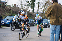 Anouska Koster and Gracie Elvin are still clear on the second of five ascents of the climb - 2016 Omloop van het Hageland - Tielt-Winge, a 129km road race starting and finishing in Tielt-Winge, on February 28, 2016 in Vlaams-Brabant, Belgium.