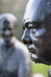 "@Licensed to London News Pictures 23/01/2015. Chartwell House, Westerham, Kent (21/11/14). Sir Winston and Lady Churchill statue overlooking the lake at Chartwell in Kent. The exhibition ""Death of a Hero"" marks the 50th anniversary of the passing of statesman and wartime leader, Sir Winston Churchill, who lived at Chartwell, Westerham  Photo credit: Manu Palomeque/LNP"
