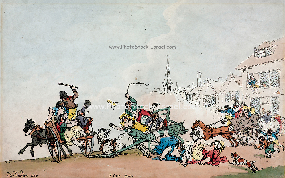 A cart race in an English town with an accident in the foreground with passengers thrown on the street. Handcoloured copperplate engraving designed and etched by Thomas Rowlandson (British, 1756-1827) to accompany Reverend James Beresford's Miseries of Human Life, Ackermann, 1808.
