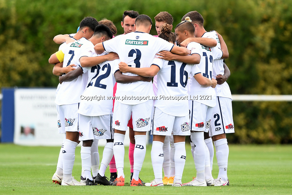 Auckland City FC players huddle before the Handa Premiership football match, Hawke's Bay United v Auckland City FC, Bluewater Stadium, Napier, Sunday, January 31, 2021. Copyright photo: Kerry Marshall / www.photosport.nz