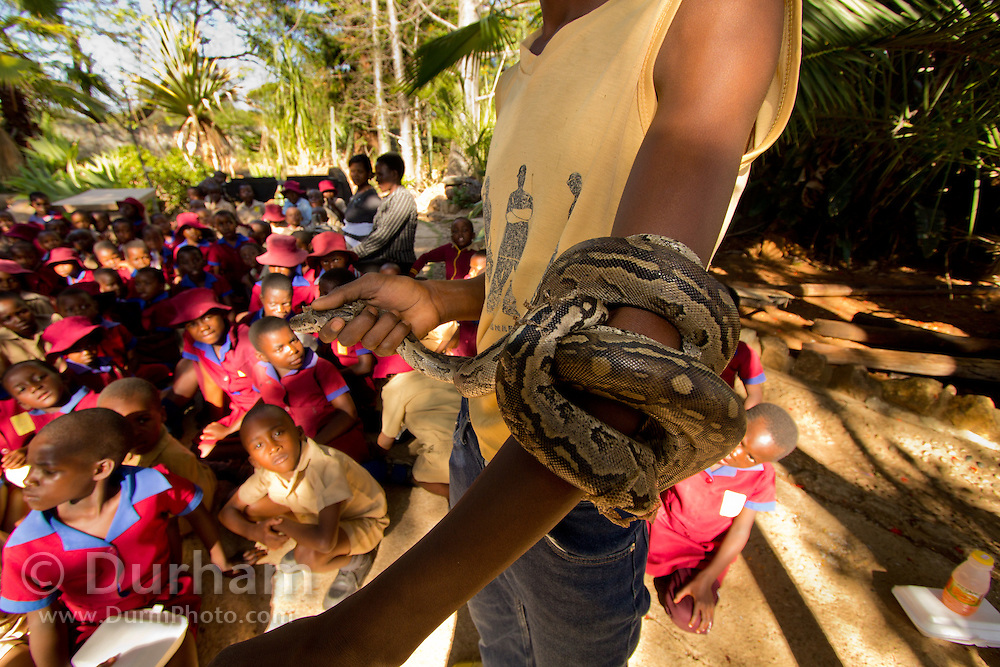 School children learn about snakes from an employee at the Chipangali Wildlife Orphange in Bulawayo, Zimbabwe. © Michael Durham / www.DurmPhoto.com