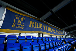 A general view of Montgomery Waters Meadow, home to Shrewsbury Town with a banner saying 'Breathe on 'em Salop' which goes against Covid-19 protocols - Mandatory by-line: Robbie Stephenson/JMP - 20/10/2020 - FOOTBALL - Montgomery Waters Meadow - Shrewsbury, England - Shrewsbury Town v Bristol Rovers - Sky Bet League One