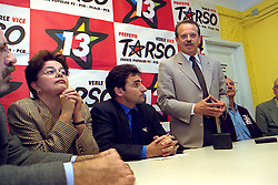 Dilma Rousseff durante ato de apoio a candidatura de Tarso Genro a Prefeitura de Porto Alegre no Comitê Central, em outubro de 2000. FOTO: Sérgio Néglia