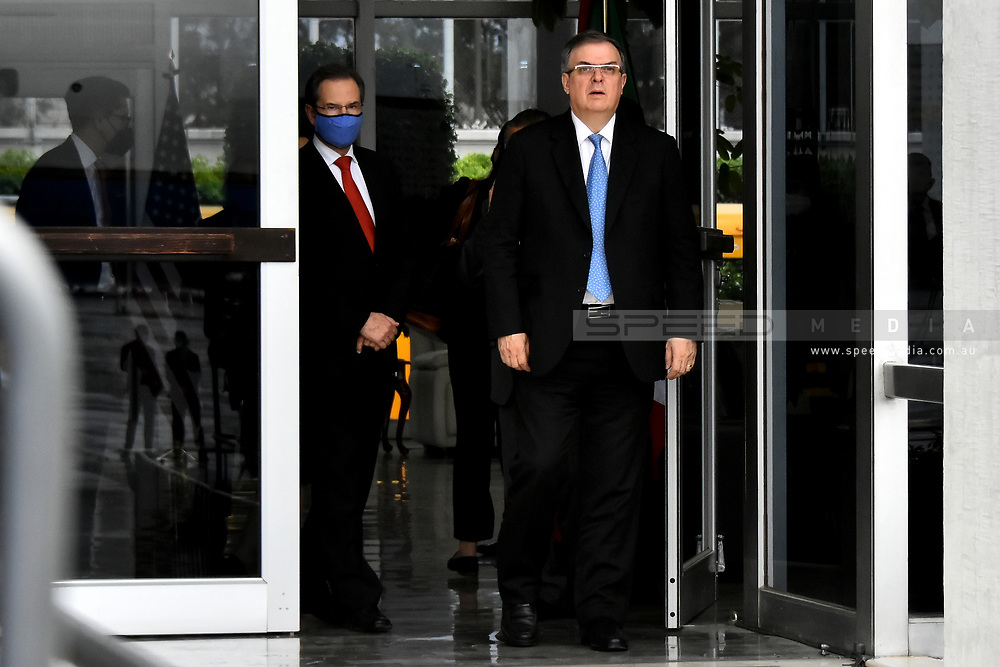 MEXICO CITY, MEXICO - JUNE 8: Foreign Affairs Minister Marcelo Ebrard, during the return of  Vice President Kamala Harris to  Joint Base Andrews in Washington, DC. after her working visit to Mexico  at  Benito Juarez International  Airport on June 8, 2021 in Mexico City, Mexico.