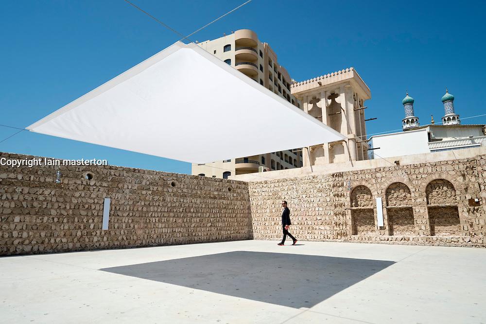 Accoustic art installation inside courtyard by Cevdet Erek on opening day of 11th Sharjah Biennial Art festival in United Arab Emirates