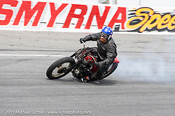 Ebay Jake on his number 13 Harley-Davidson 45 inch racer in the Sons of Speed Vintage Motorcycle Races at New Smyrina Speedway. New Smyrna Beach, USA. Saturday, March 9, 2019. Photography ©2019 Michael Lichter.