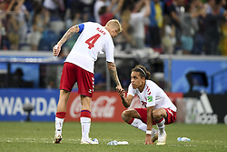 July 1, 2018 - Nizhny Novgorod, Russia - Simon Kjaer and Yussuf Poulsen of Denmark dejected during the 2018 FIFA World Cup Round of 16 match between Croatia and Denmark at Nizhny Novgorod Stadium in Nizhny Novgorod, Russia on July 1, 2018  (Credit Image: © Andrew Surma/NurPhoto via ZUMA Press)