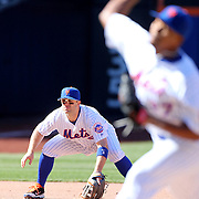 NEW YORK, NEW YORK - APRIL 13: David Wright, New York Mets, fielding at third base during the Miami Marlins Vs New York Mets MLB regular season ball game at Citi Field on April 13, 2016 in New York City. (Photo by Tim Clayton/Corbis via Getty Images)