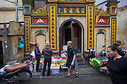Pho Thanh Ha traditional street market in the old quarter of Hanoi, Vietnam