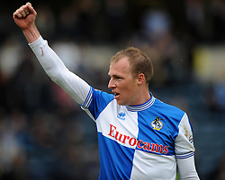 Bristol Rovers' David Clarkson celebrates Bristol Rovers winning after the game. - Photo mandatory by-line: Dougie Allward/JMP - Mobile: 07966 386802 26/04/2014 - SPORT - FOOTBALL - High Wycombe - Adams Park - Wycombe Wanderers v Bristol Rovers - Sky Bet League Two