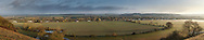Panorama from hills overlooking the River Thames at Bourne End and the Chiltern Hills, Buckinghamshire, Uk