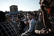 Manifestazione di protesta a Piazza Venezia organizzata dalle associazioni di immigrati che raccolgono ospiti ed ex ospiti dei centri per minori stranieri non accompagnati. Roma, 12 aprile 2013. Christian Mantuano / OneShot