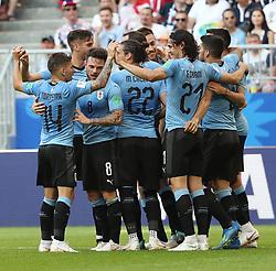 SAMARA, June 25, 2018  Players of Uruguay celebrate Luis Suarez's goal during the 2018 FIFA World Cup Group A match between Uruguay and Russia in Samara, Russia, June 25, 2018. (Credit Image: © Bai Xueqi/Xinhua via ZUMA Wire)