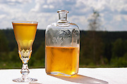 Swedish traditional aquavit schnapps glass in pointed form filled to the brim with spiced vodka, brannvin. A blue and cloudy summer sky in the background. Frosty ice cold drops on the outside. A glass flask plunta with decorative engravings. Sweden, Europe.