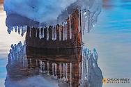 Icy rock in Lake McDonald in Glacier National Park, Montana, USA
