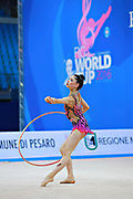 """Baldassarri Milena during hoop routine at the International Tournament of rhythmic gymnastics """"Città di Pesaro"""", 01 April, 2016. Milena is an Italian individualistic gymnast, born on October 16, 2001 in Ravenna.<br /> This tournament dedicated to the youngest athletes is at the same time of the World Cup."""