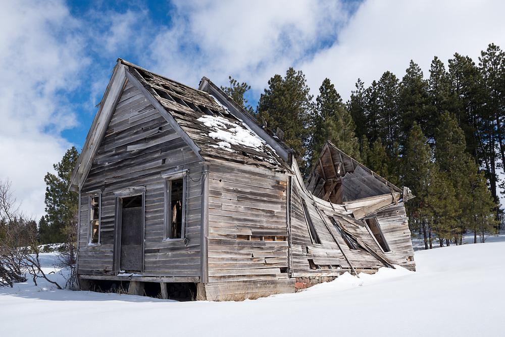 Ruins of the Pine Grove School, Union County, Oregon.