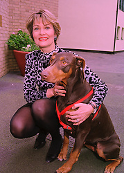 Actress ALEXANDRA BASTEDO and her dog Little Dorrit, at a lunch in London on 1st March 1998.MFW 13