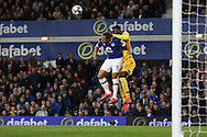 Phil Jagielka of Everton and Christian Benteke of Crystal Palace jump for the ball. Premier league match, Everton v Crystal Palace at Goodison Park in Liverpool, Merseyside on Friday 30th September 2016.<br /> pic by Chris Stading, Andrew Orchard sports photography.