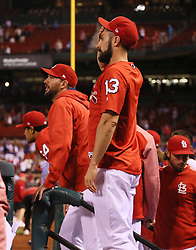 September 28, 2017 - St Louis, MO, USA - The St. Louis Cardinals' Matt Carpenter, middle, and Adam Wainwright, second from left, react after Chicago Cubs center fielder Leonys Martin robbed a potential game-tying home run from Paul DeJong in the bottom of the 11th inning on Thursday, Sept. 28, 2017, at Busch Stadium in St. Louis. The Cubs won, 2-1. (Credit Image: © Chris Lee/TNS via ZUMA Wire)