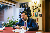 ROME, ITALY - 5 FEBRUARY 2020:  Senator Matteo Salvini, former Interior Minister of Italy and leader of the far-right League party, is seen here during an interview in his office in Rome, Italy, on February 5th 2020.