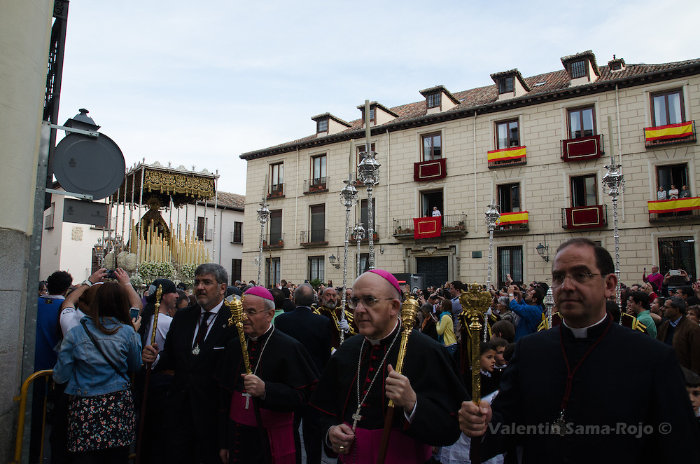 Nuncio to Spain (CL), Renzo Fratini, and the archbishop of Madrid (CR),  Carlos Osoro Sierra, walking during the procession of the brotherhood 'Los Estudiantes' in Madrid.