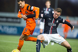 Dundee United's Alex Nicholls and Falkirk's Aaron Muirhead. Falkirk 3 v 0 Dundee United, Scottish Championship game played 11/2/2017 at The Falkirk Stadium.