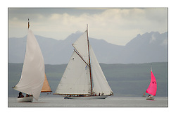 Solway Maid and Moonbeam IV drift down the Clyde to the finish of the first days Racing...This the largest gathering of classic yachts designed by William Fife returned to their birth place on the Clyde to participate in the 2nd Fife Regatta. 22 Yachts from around the world participated in the event which honoured the skills of Yacht Designer Wm Fife, and his yard in Fairlie, Scotland...FAO Picture Desk..Marc Turner / PFM Pictures