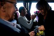 Sostenitori della Lega Nord Toscana provenienti da Livorno verso Bologna per la manifestazione Liberiamoci e Ripartiamo<br /> 8 novembre 2015 . Daniele Stefanini /  OneShot