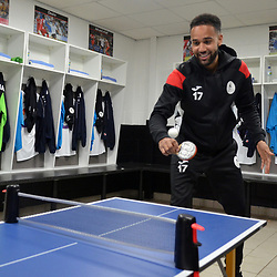 TELFORD COPYRIGHT MIKE SHERIDAN Brendon Daniels shows off some table tennis skills on a table installed in the Telford dressing room prior to the Vanarama National League Conference North fixture between AFC Telford United and Spennymoor Town on Saturday, November 16, 2019.<br /> <br /> Picture credit: Mike Sheridan/Ultrapress<br /> <br /> MS201920-030
