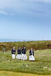 THEMENBILD - Nonnen spazieren auf einen Weg bei der Besichtigung der Burgruine Dunnottar Castle bei Stonehaven, Schottland, aufgenommen am 07. Juni 2015 // Nuns walking down a path after a visit to the ruins of Dunnottar Castle near Stonehaven, Scotland on 2015/06/07. EXPA Pictures © 2015, PhotoCredit: EXPA/ JFK
