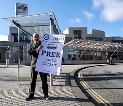 Scottish Greens, Free Bus Travel, 27 February<br /> <br /> Ahead of the budget debate this afternoon, Scottish Greens Parliamentary Co-Leaders Alison Johnstone MSP and Patrick Harvie MSP along with the Green MSP group staged a photocall outside the Scottish Parliament to celebrate their free bus travel for under 19s budget win.<br /> <br /> The Scottish Greens yesterday announced that a deal had been struck on free bus travel, more money for councils, extra resource for community safety and an additional £45 million package to tackle fuel poverty and the climate emergency.<br /> <br /> Pictured:  Patrick Harvie MSP<br /> <br /> Alex Todd | Edinburgh Elite media