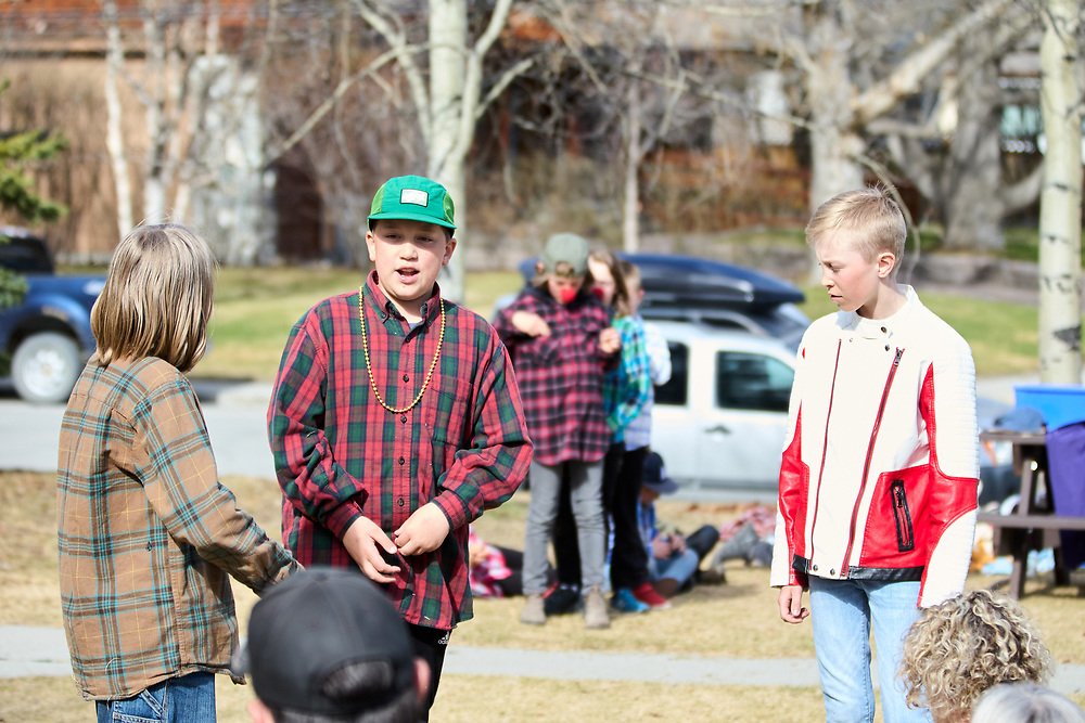 L-R<br /> Lewis Maddocks as Claudio.<br /> Lucas Anderson-Lindsay as Don John.<br /> Luka Krauzig as Don Pedro.<br /> <br /> Yukon Montessori School performed Shakespeare's Much Ado About Nothing in Helicopter Park on May 19 in Whitehorse, Yukon Canada.