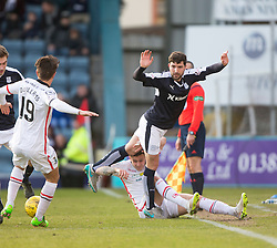 Dundee's Kostadin Gadzhalov over Inverness Caledonian Thistle's Miles Storey. <br /> Dundee 1 v 1 Inverness Caledonian Thistle, SPFL Ladbrokes Premiership game played at Dens Park, 27/2/2016.