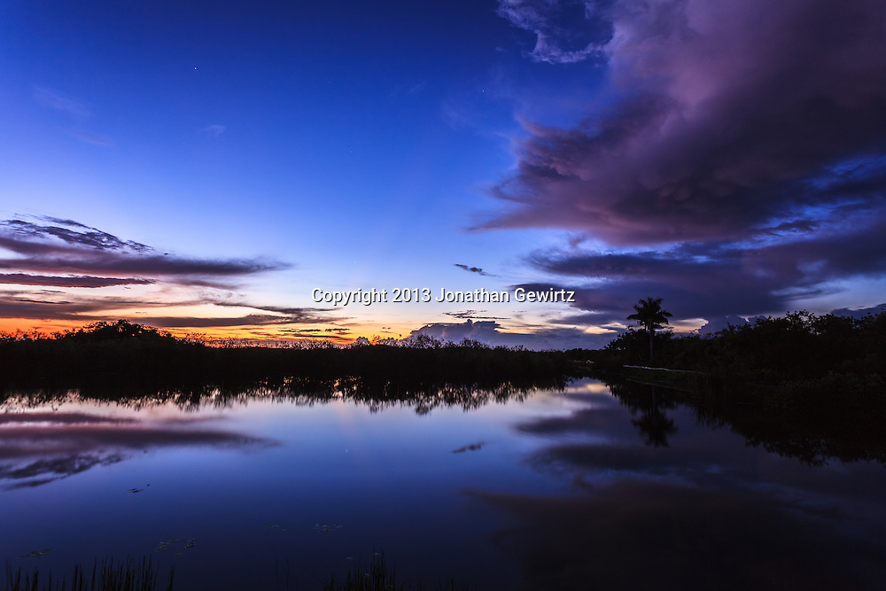 Rain clouds drift away from the Anhinga Trail in Everglades National Park, Florida after an early-morning shower.