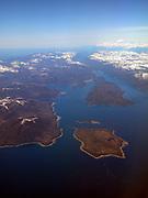 Alaska . Aerial of Inside Passage and Coast Mountains .