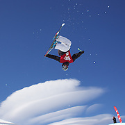 Yannic Lerjen, Switzerland, in action in the Men's Halfpipe Finals during The North Face Freeski Open at Snow Park, Wanaka, New Zealand, 3rd September 2011. Photo Tim Clayton...