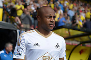 André Ayew of Swansea City looks on as he enters the pitch before k/o. Barclays Premier League, Watford v Swansea city at Vicarage Road in London on Saturday 12th September 2015.<br /> pic by John Patrick Fletcher, Andrew Orchard sports photography.