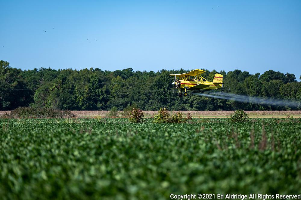 Crop duster spraying fields in rural South Carolina in a bi-plane. Image taken by Ed Aldridge with a NIKON Z 6_2 and NIKKOR Z 70-200mm f/2.8 VR S at 200mm, ISO 100, f3.2, 1/1600.