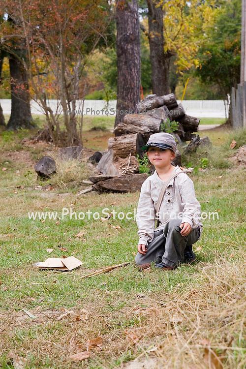 Arkansas, AR, USA, Old Washington State Park, Civil War Weekend. A confederate child