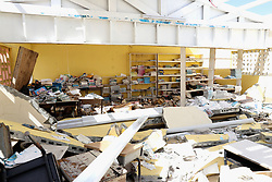 The damage at the Holy Trinity School in Codrington, Barbuda, as the Prince of Wales continues his tour of hurricane-ravaged Caribbean islands.