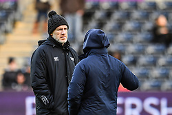 Ospreys' Head Coach Steve Tandy chats to Cardiff Blues' Head Coach Danny Wilson<br /> <br /> Photographer Craig Thomas/Replay Images<br /> <br /> Guinness PRO14 Round 13 - Ospreys v Cardiff Blues - Saturday 6th January 2018 - Liberty Stadium - Swansea<br /> <br /> World Copyright © Replay Images . All rights reserved. info@replayimages.co.uk - http://replayimages.co.uk